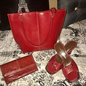 Wilson's Red Leather Purse & Wallet